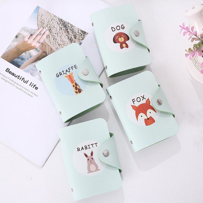New PU Leather 24 Bits Card Package Cute Animal Printing Cartoon Animation Trend Creative Card Wallet Bag Holder in Card ID Holders from Luggage Bags