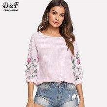 c5e8432b86e Dotfashion розовый цветочный принт фонарь рукав полосатый топ рубашка  женская отпуск цветочный Одежда Лето Половина рукава Пулов..