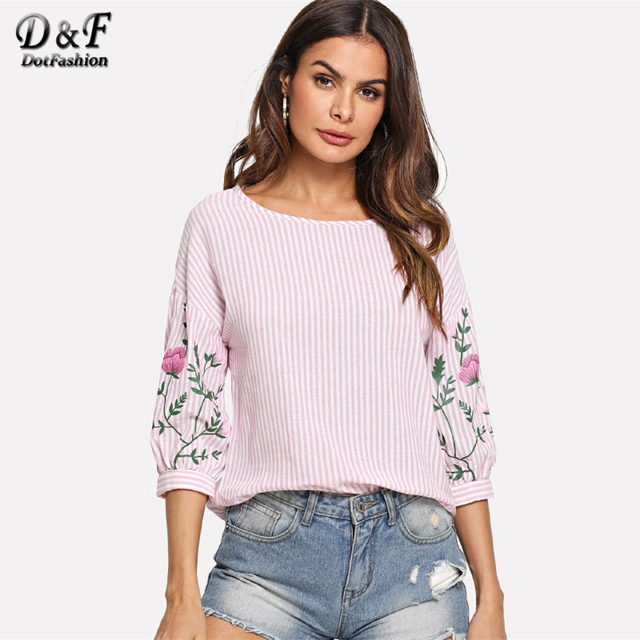 e227231c9b49 Dotfashion Pink Flower Print Lantern Sleeve Striped Top Shirt Women  Vacation Floral Clothing Summer Half Sleeve Pullovers Blouse