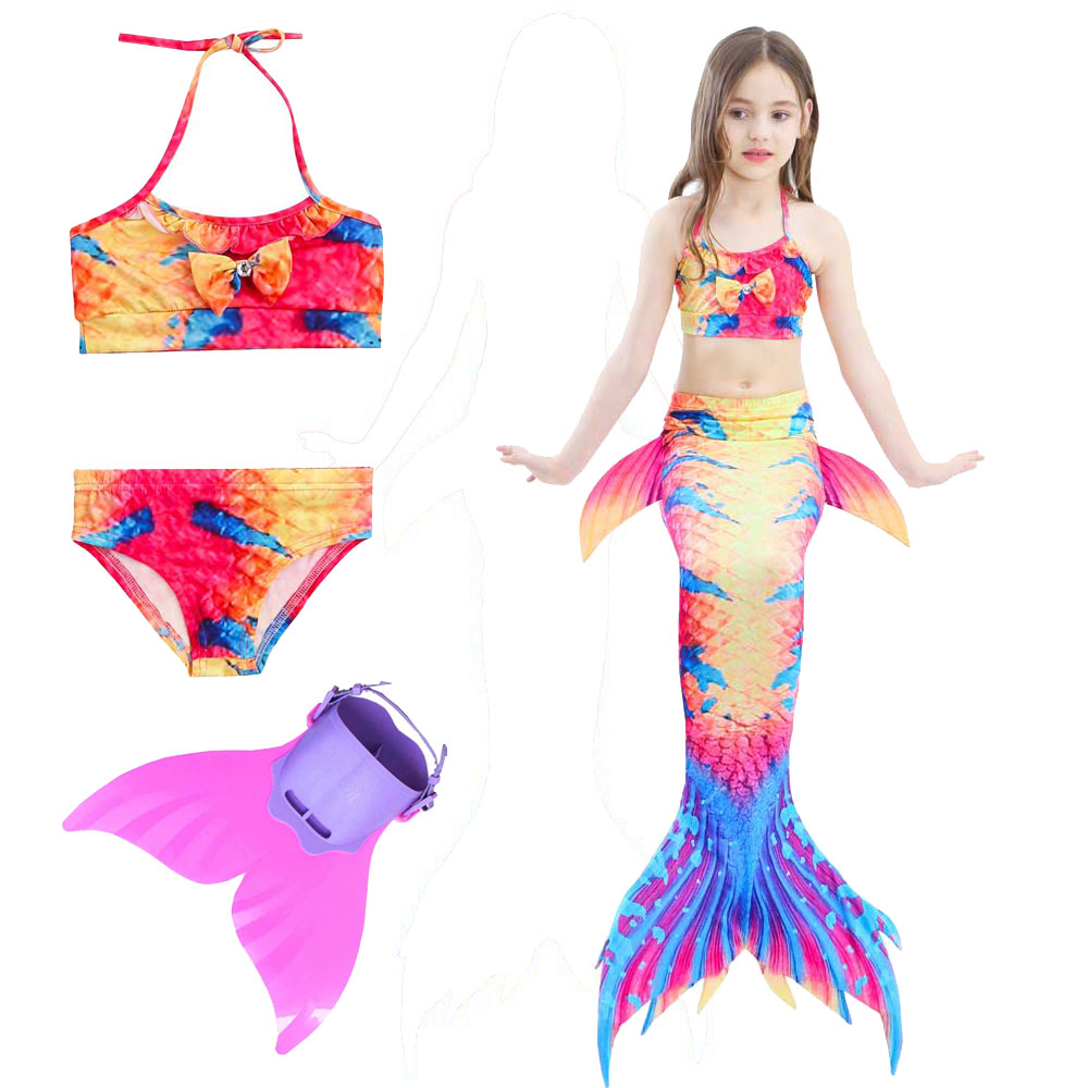 Mermaid Tail For Swimming For Girls Costume 100cm-150cm Kids Ariel Little Swimmable Mermaid Tail Cosplay And Flippers