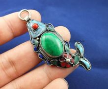 SUPERB CHINESE OLD HANDWORK COLLECTIBLES Tibetan silver fish Armoured jade p