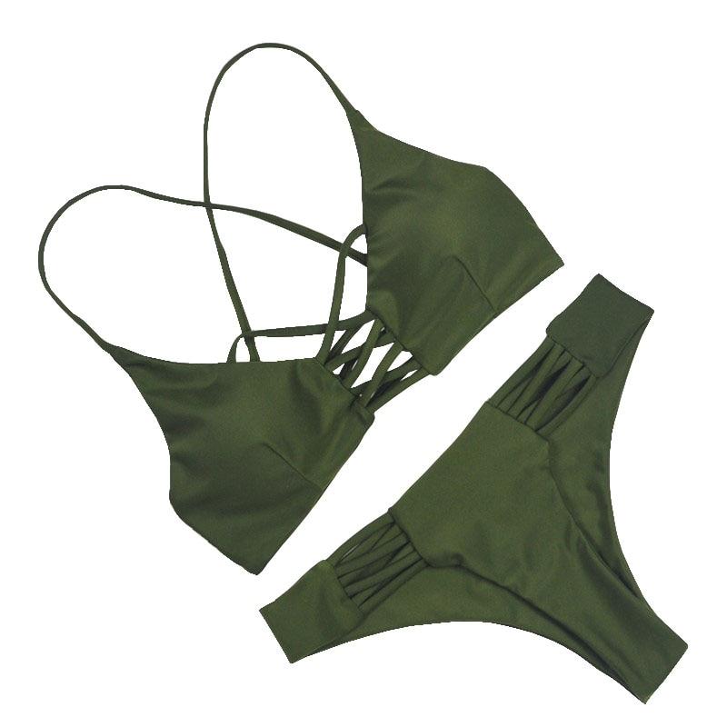2018 Women Bandage Thong Brazilian Bikinis Swimwear Female Sexy Green Bandeau Push up Swimsuit Bikini Set Beachwear Biquini