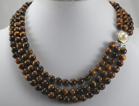 wholesale 3 rows tiger eye stone with pearl clap jewelry necklace &aa **A good women wedding Noble style