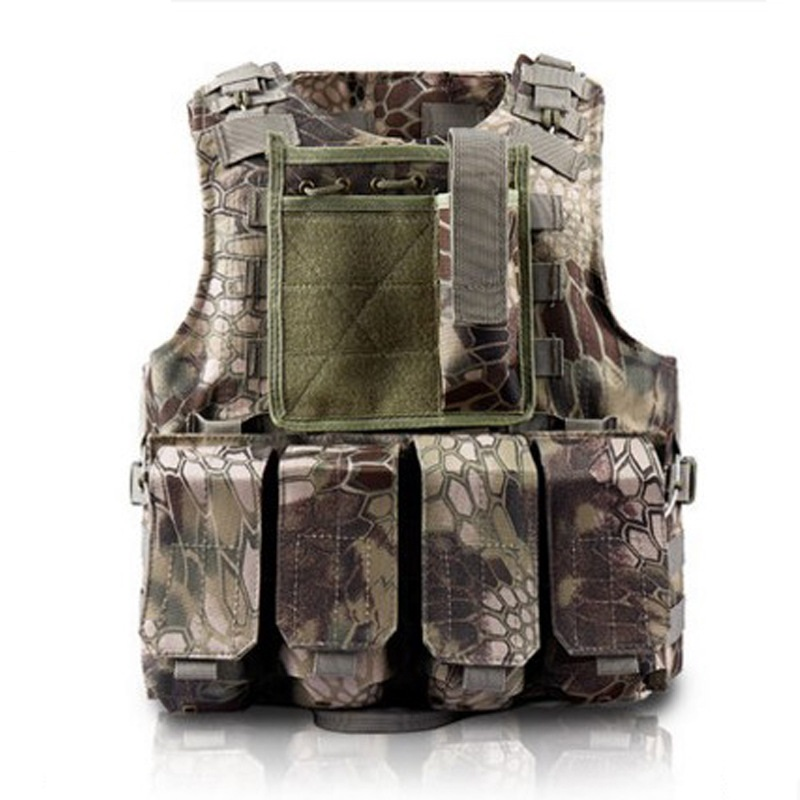 New Camouflage Hunting Military Tactical Vest Wargame Body Molle Armor Hunting Vest CS Outdoor Jungle Equipment Vest With 4 Bag