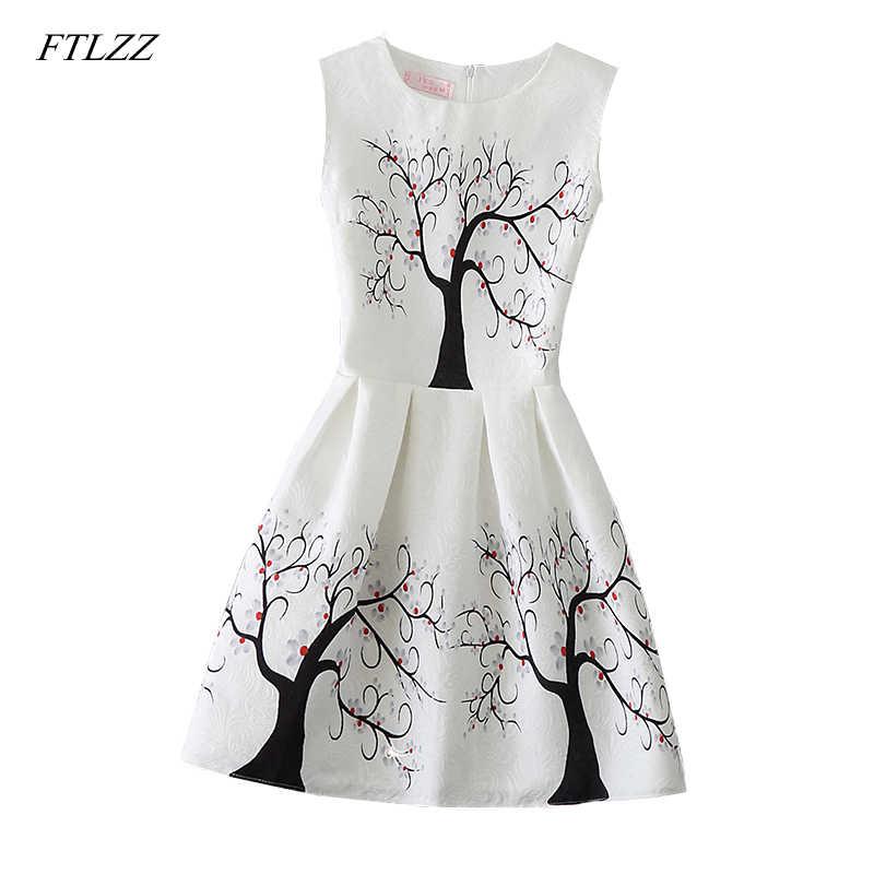 70ca5a865d FTLZZ Summer Dress 2018 Women Elegant Casual Sleeveless Dresses Floral  Print Vintage A-line Short