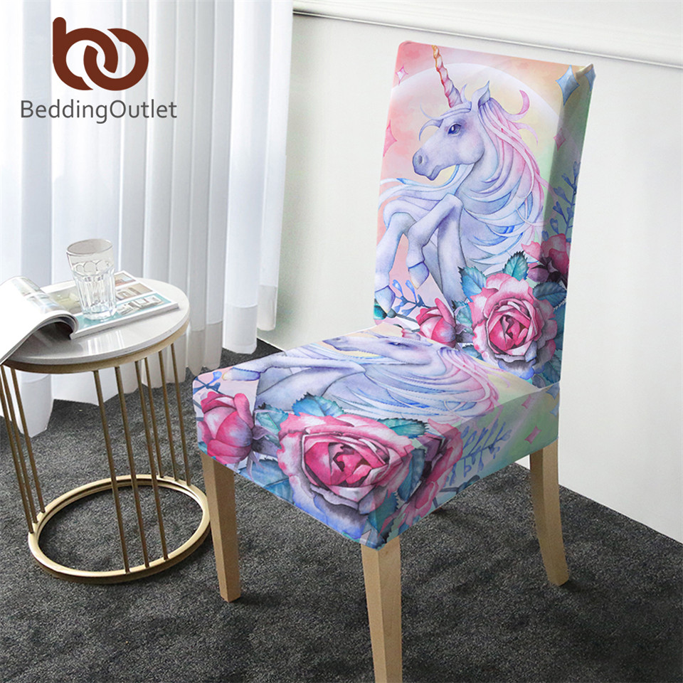 Magnificent Us 4 9 30 Off Beddingoutlet Unicorn Chair Covers Rose Cartoon Spandex Elastic Slipcover Pink Floral Seat Case Decor For Weddings Banquet 1Pc In Caraccident5 Cool Chair Designs And Ideas Caraccident5Info