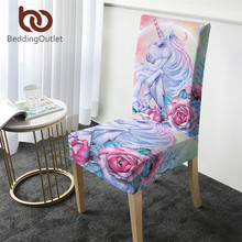 Beddingoutlet Eenhoorn Stoelbekleding Rose Cartoon Spandex Elastische Hoes Roze Bloemen Seat Case Decor Voor Bruiloften Banket 1Pc