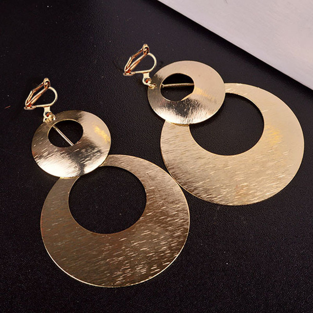 JIOFREE New Design hyperbole Large Double Circle Clip on Earrings Non Piercing for Women Party Wedding Elegant Accessories