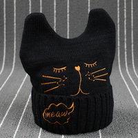 Letter Fashion Baby Boys Girls Winter Warm Knitting Wool Cat Ear Beanie Ski Hat Cap Children