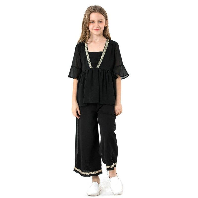 Girls chiffon set Summer Kids black chiffon Tshirt+ Loose pant 2Pcs Outfit Children Clothing for Teen girl Costume 5 9 12 14Year