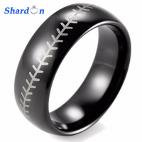 SHARDON Mens ring 8mm Dome Tungsten Carbide Baseball Stitch design ring with laser Rings for man 3 colors Free shipping