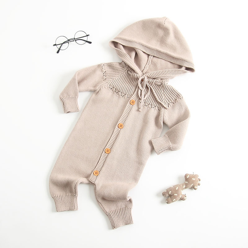 Realistisch Baby Neugeborenen Winter Herbst Pullover Strampler Casual Hohe Qualität Kinnting Kapuze Junge Mädchen Overall Kleidung Baby Outfits