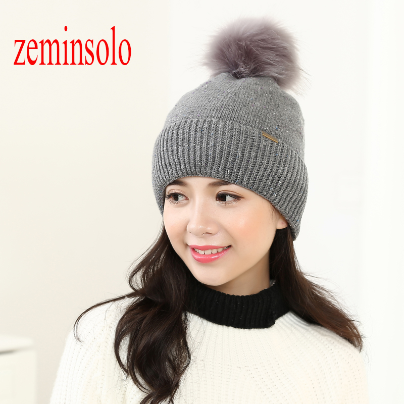 Winter Women's Fox Fur Ball Pom Poms Hat Girls Warm Knitted Cotton Baggy Beanies Skullies Hats Cap For Women Female Bonnet Hats mink and fox fur ball cap pom poms winter hat for women girls wool hats knitted cotton beanies skullies caps thicken female hats