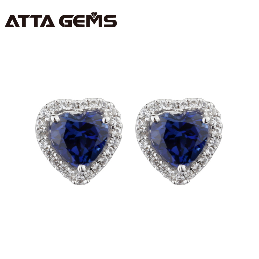 Blue Sapphire Silver Stud Earring Hearts Shape Lovely And Romantic Wedding Created Sapphire Earring For Lovely Ladies