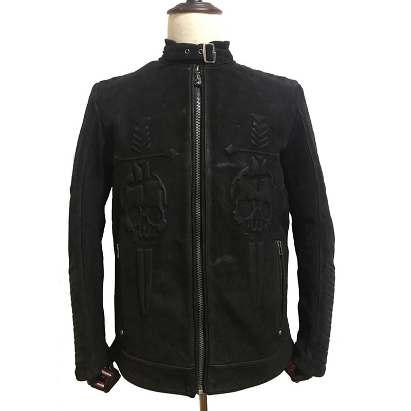 HARLEY-DAMSON-Vintage-Black-Men-Skull-Biker-s-Leather-Jacket-Plus-Size-XXXXL-Genuine-Thick-Cowhide