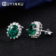 GUYINKU Classic Diana Princess Jewelry Real 925 Silver Stud Earrings For Women Engagement Wedding Gift Fine
