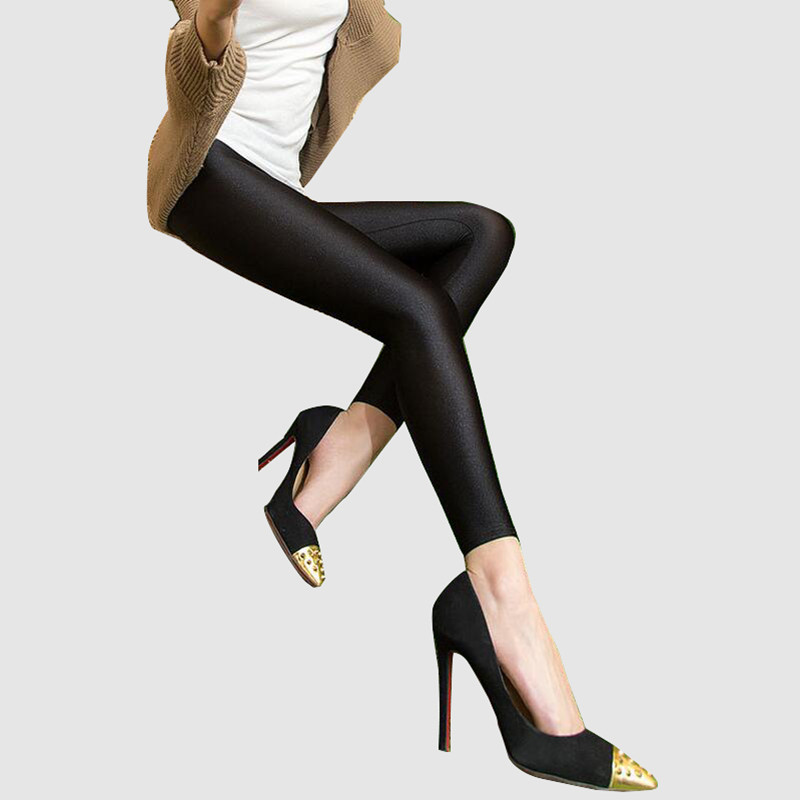 Hot Zomer herfst Mode-legging Dameszon glanzende capris Leggings Mid-Taille Slim Elastische shinny Leggings lage plus size