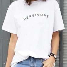 Harajuku Letters printed t-shirt  Women Fashion Black White Cotton Tee Shirt