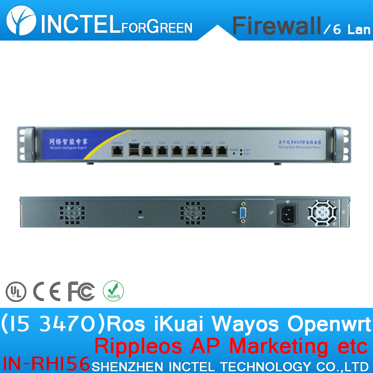 Customized Internet router manufacturers ROS 6 Gigabit flow control cisco firewall with I5 3470 processor H61 Express chip wavelets processor