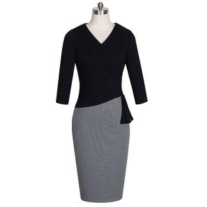Image 2 - Nice   forever Mature Elegant V คอ vestidos Wiggle ชุดทำงานสำนักงาน Bodycon 3/4 แขนยาวผู้หญิงธุรกิจ B333