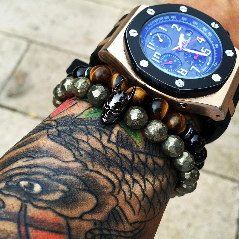 Prix pour Mcilroy perles bracelets avec Batman Bracelet perles pour homme femmes hématite pierre naturelle charmes ronde perles diy Bracelets