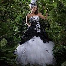 גותי שחור ולבן חתונת שמלות סטרפלס כדור שמלת חרוזים Applique בציר צבעוני חתונה שמלות 1950s תפור לפי מידה