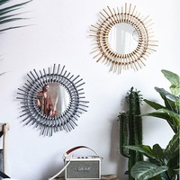 Creative Fujiwara Mirror Round Art Cosmetics Makeup Mirror Decoration Nordic Bathroom Living Room Wicker Wall Hanging Mirror
