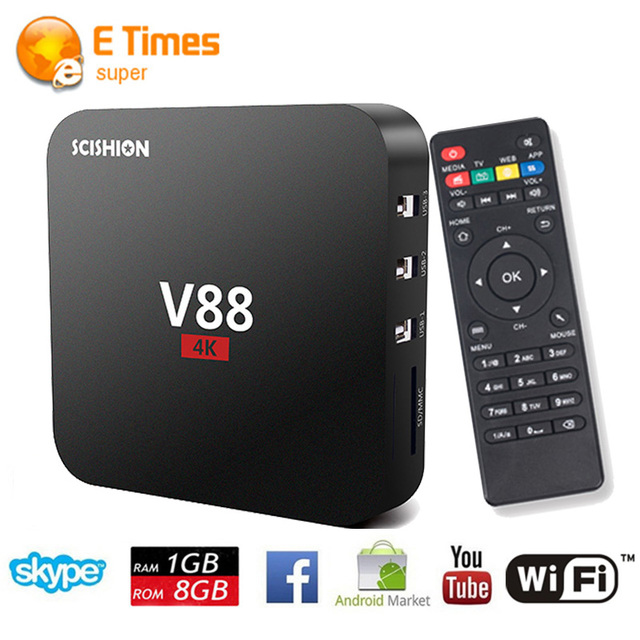 Recentes Rockchip 3229 Quad-Core V88 Inteligente Media Player HDMI 2.0 1G/8G Android 5.1 Caixa De TV 4 K * 2 K WiFi 100 M LAN Smart TV Android caixa