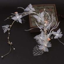 Перо головной убор ручной работы повязка на голову с бантиком диадема невесты Свадебные аксессуары для волос