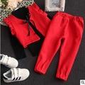 Весна зима детские девушки одежда набор 2 шт. серый красный твердых свитер жилет поддельные два брюки детские случайные теплую одежду детей 2-7 Т