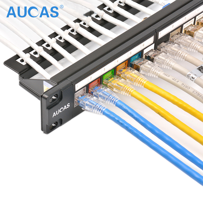 AUCAS 24 port Panel patch kosong Bahan Logam Unload Modular Patch panel frame dengan manajer kabel bar Rak kabel tidak terlindung