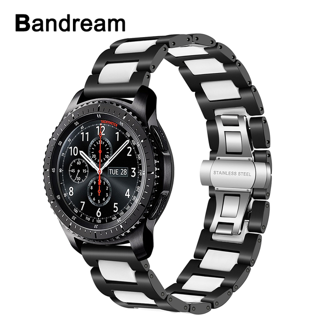 Ceramic + Stainless Steel Watchband 22mm for Samsung Gear S3 Classic Frontier Am
