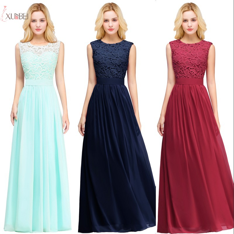 2019 Burgundy Navy Pink Chiffon Long   Bridesmaid     Dresses   Scoop Neck Sleeveless Women Wedding Party Gown