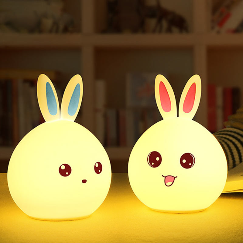 New Arrival Cute Rabbit LED Night Light Baby Kids Bedroom Lamp Multicolor USB Rechargeable Tap Sensor Control Nightlight HR