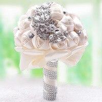 W Photography Nowy Wspaniały Koralikami Kryształ Bukiet Ślubny Ivory Rose Pearl Bukiety Ślubne Druhna Kwiaty Sztuczne Sapphire