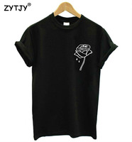 Rose Flower Pocket Print Women Tshirt Cotton Casual Funny T Shirt For Lady Top Tee Hipster