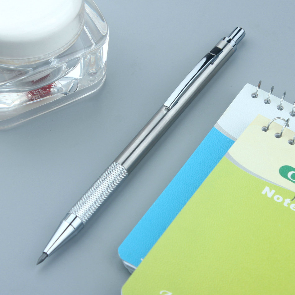 All Metal Anti Skid Automatic Pencil Animation Sketch Low Center Of Gravity Stationery 2.0mm Mechanical Pencil image