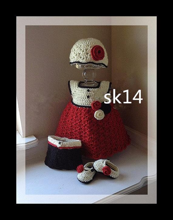 szydełkowa sukienka i czapka niemowlęca z kompletem - Odzież dla niemowląt - Zdjęcie 1