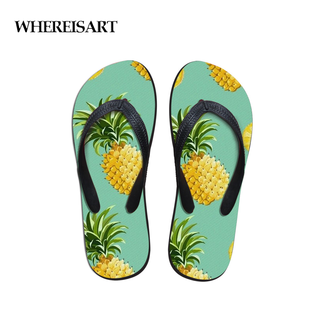 WHEREISART Men's Flip Flops Summer Pineapple Pattern Slippers Man Casual EVA Shoe Summer Fashion Travel Beach Sandals Wholesale