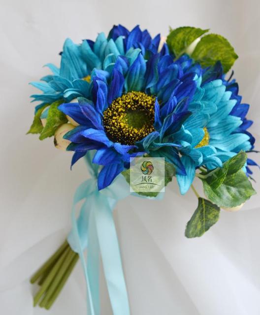 Новое Прибытие Королевский Синий Свадебные Букеты Buques De Noivas Гялин Buketi Малый Невесты Букет Рамо Де Флорес Novia На Складе