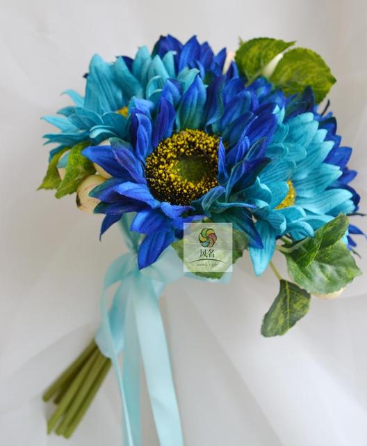 New Arrival Royal Blue Wedding Bouquets Buques De Noivas Gelin Buketi Small Bridesmaid Bouquet Ramo De Flores Novia In Stock