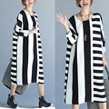 Free shipping Plus size clothing spring medium-long white and black stripe o-neck basic shirt plus size one-piece loose dress