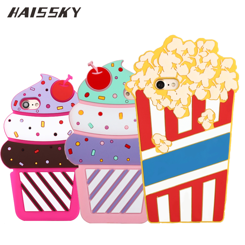 Silicone TPU Case for iPhone 5 6 7 8 Case Rubber Lovely Popcorn Phone Back Cover Case For iPhone 5s se 6s 7 8 Plus Icecream Case