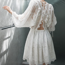 100% lace pants dress 2017 summer beach dress bohemian tropical dress lantern sleeve