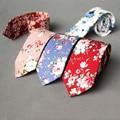 Fashion Business Groom Wedding Floral Ties Cotton Men's Printed Skinny Slim Neck Ties Gravatas Suits Pocket Square Handkerchief