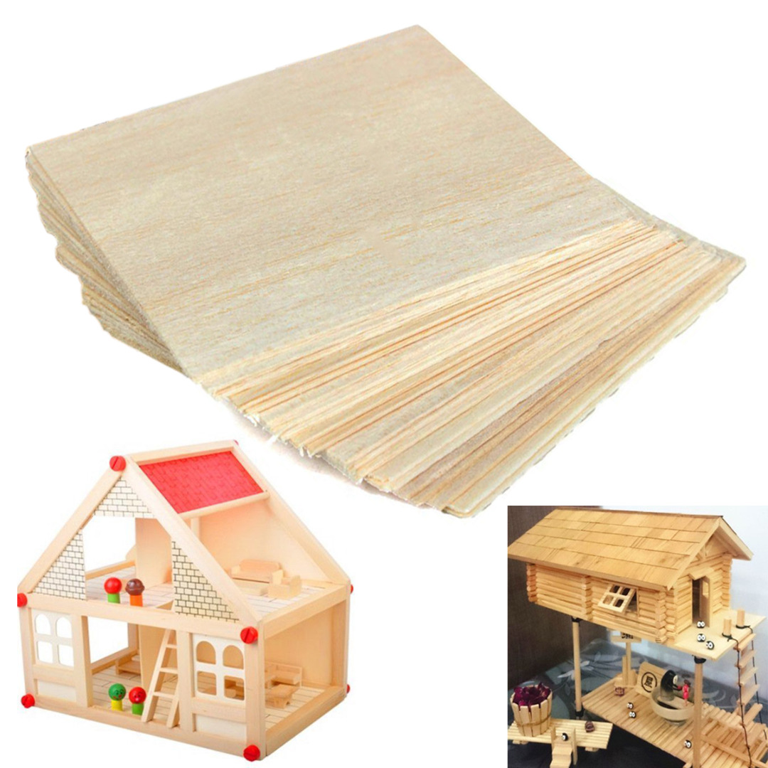DWZ 20x Wooden Plate Model Balsa Wood Sheets for DIY House Ship Aircraft 100x100x1mm a3 size 420mmx297mm 2 4mm aaa balsa wood sheet plywood puzzle thickness super quality for airplane boat diy free shipping