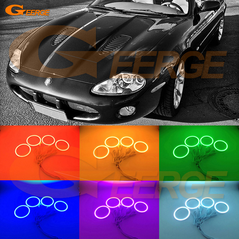 For Jaguar XK8 XKR X100 Silverstone Portfolio 1996-2006 Excellent Multi-Color Ultra bright RGB LED Angel Eyes kit цена и фото