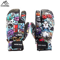 Saenshing Cartoon Winter Ski Gloves Men Women Super Warm Waterproof Snowboard Gloves Colorful Skiing Snow Motorcycle