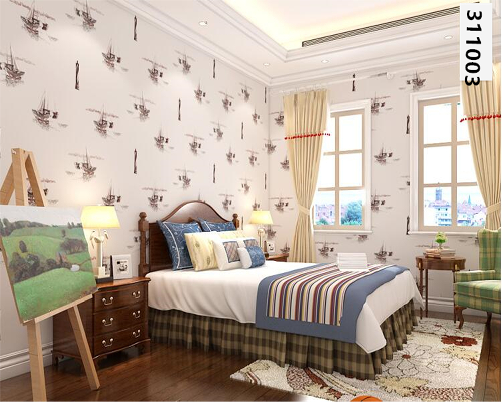 beibehang Personalized sailing sailboat Mediterranean wallpaper children's boys nonwoven 3d wallpaper bedroom living room tapety