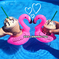 5 pieces Mini Cute Pink Inflatable Flamingo Coasters Pool Float Drink Holder Party Supplies Float Bath Toys Environmental PVC
